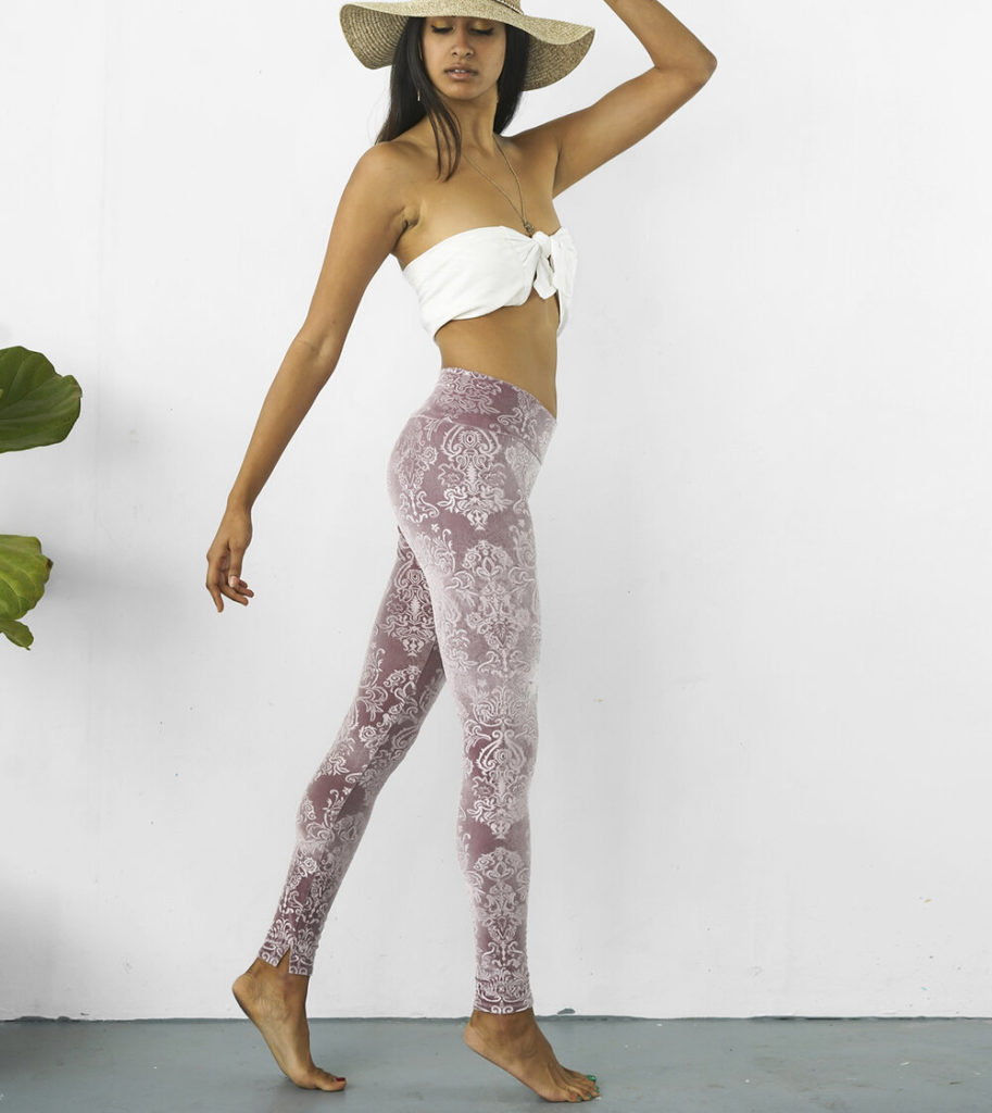 amethyst velvet damask leggings
